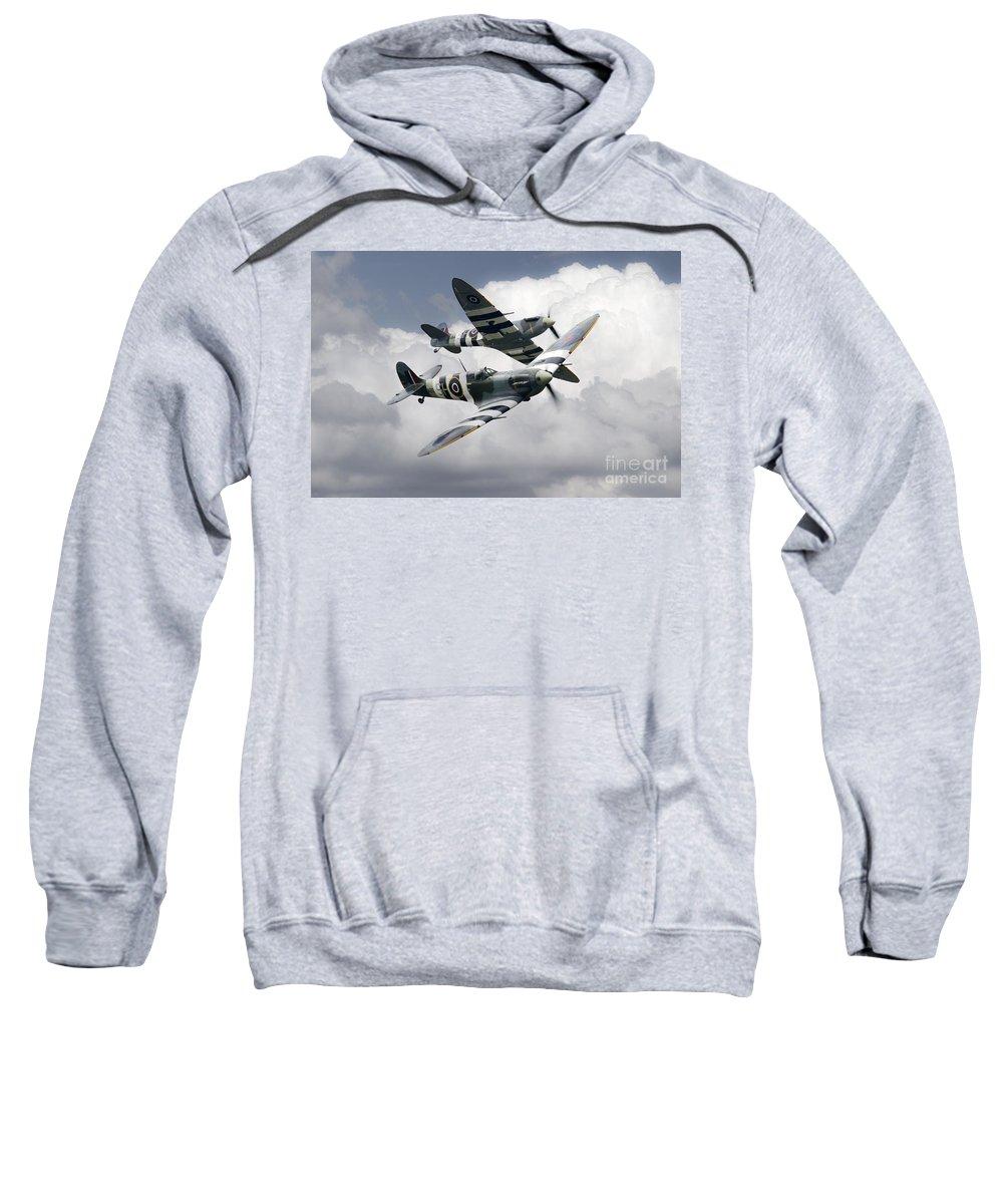 Supermarine Sweatshirt featuring the digital art Spitfire Flying Legends by J Biggadike