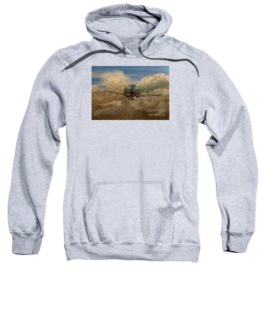 Spitfire Sweatshirt featuring the painting Spitfire Mk19 1945 Warbird - Dedicated To My Closest Friend Melody Lasola 08 08 83 - 25 10 09 by Richard John Holden RA