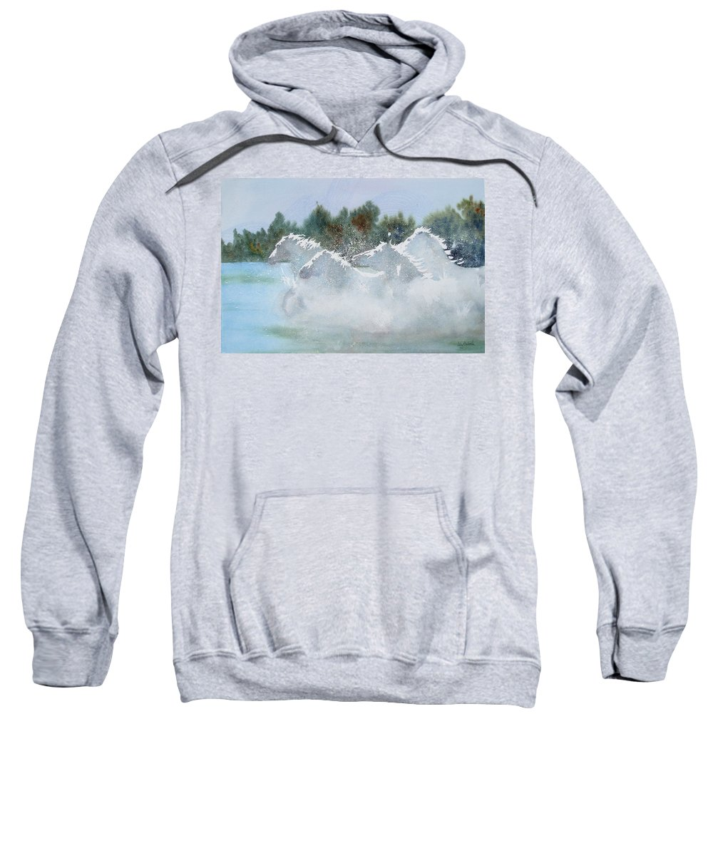 Horse Sweatshirt featuring the painting Splash 1 by Ally Benbrook