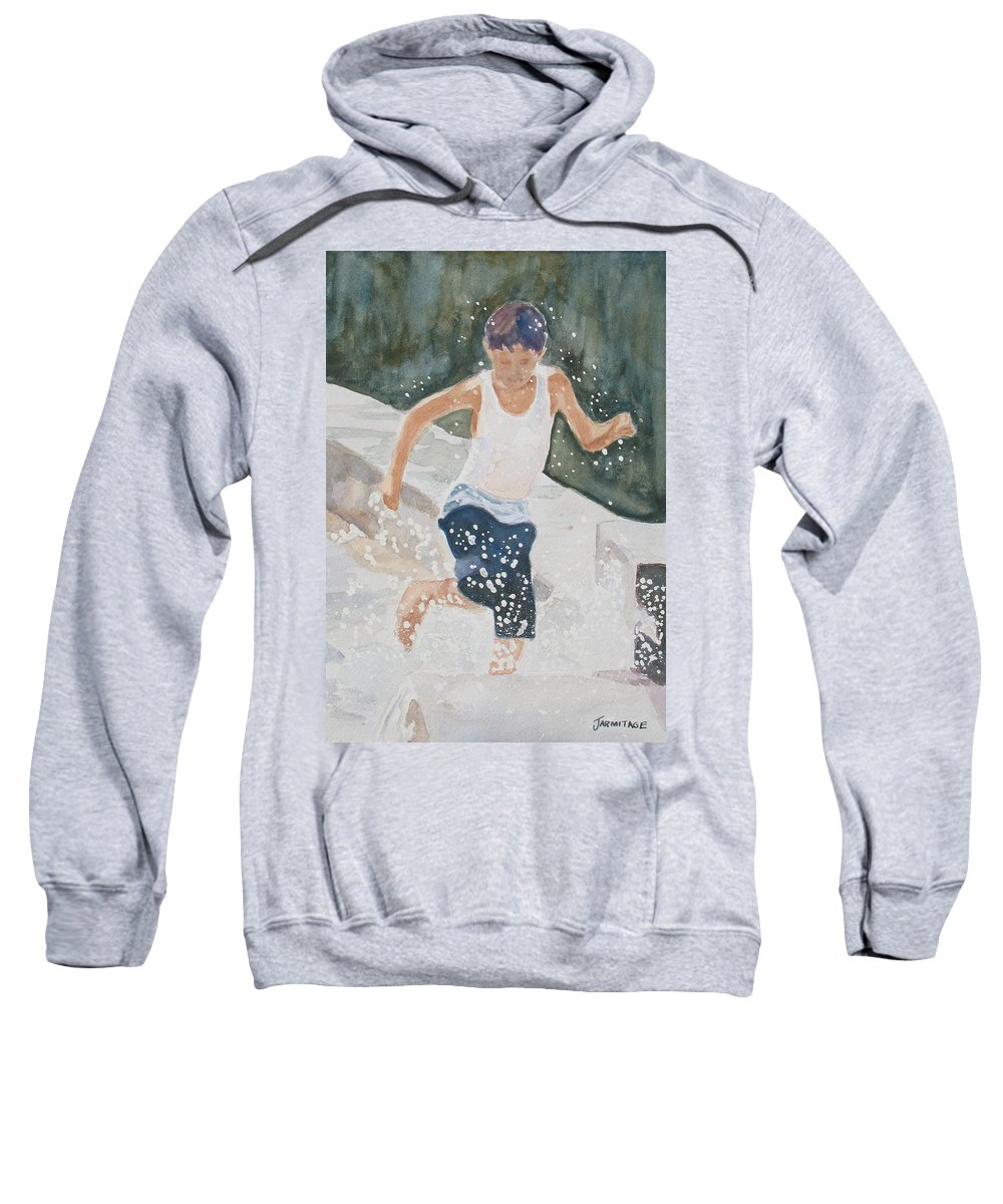 Boy Sweatshirt featuring the painting Splash Dance by Jenny Armitage