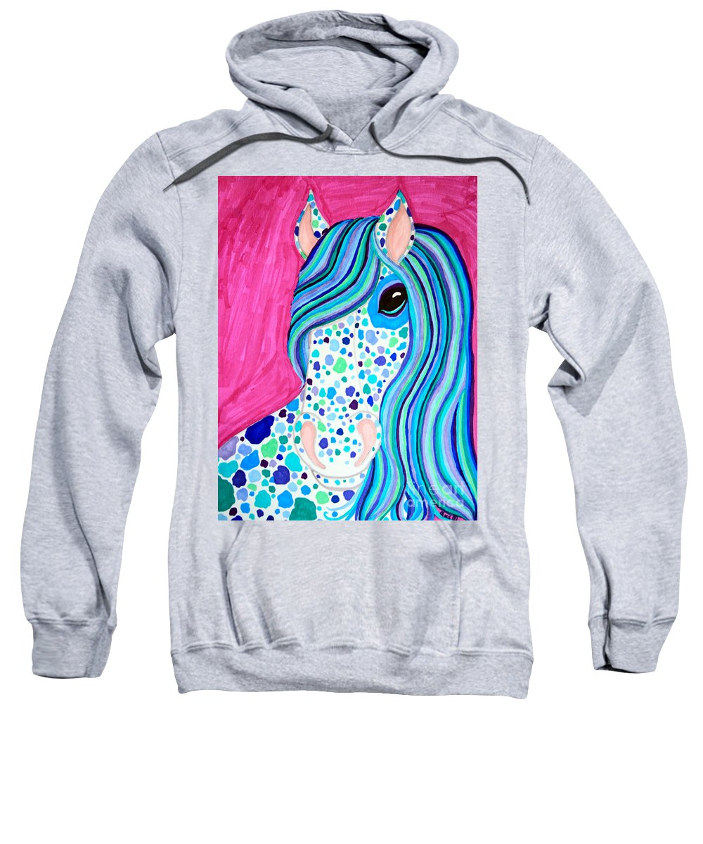 Horse Sweatshirt featuring the drawing Spotted Horse by Nick Gustafson