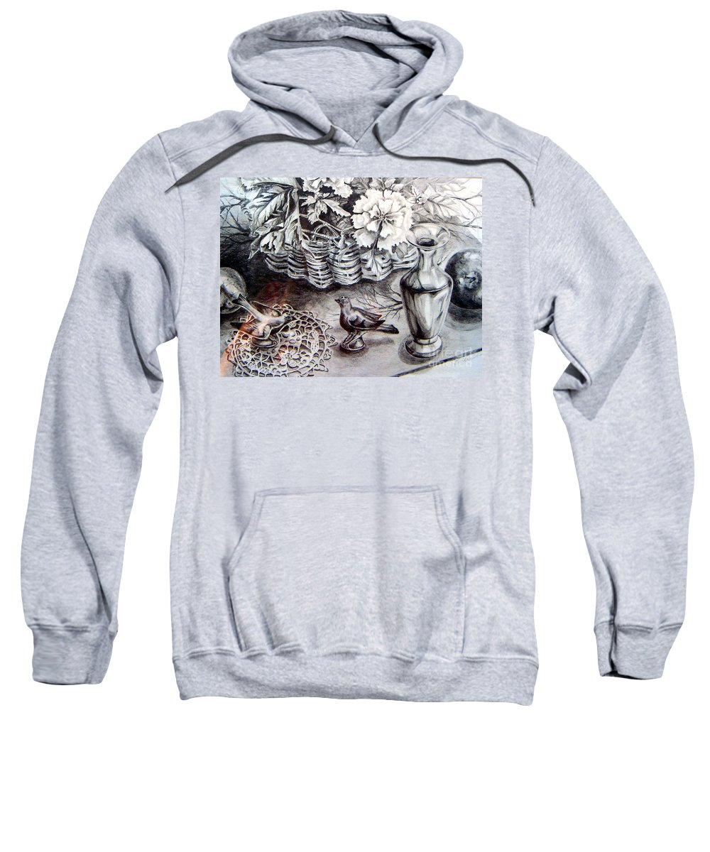 Graphite Pencil Sweatshirt featuring the drawing Spring Arrangemnt by Linda Shackelford