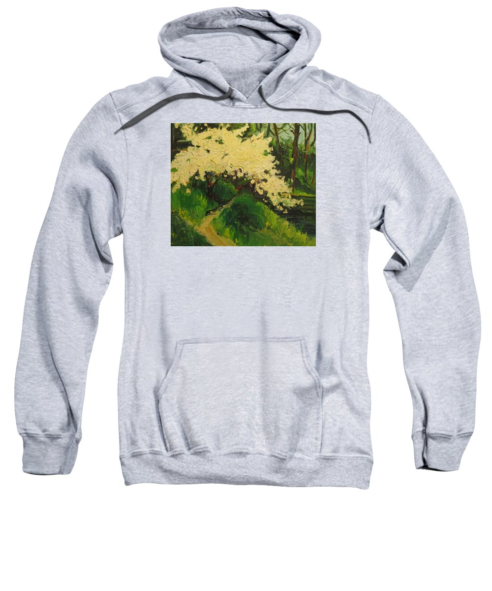 Landscape Of Flowering Tree By The Side Of A Lake Sweatshirt featuring the painting Spring At Stow Lake by Pat Gray
