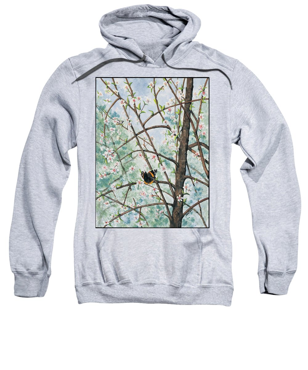 Butterfly Sweatshirt featuring the painting Spring Blossom by Mary Tuomi