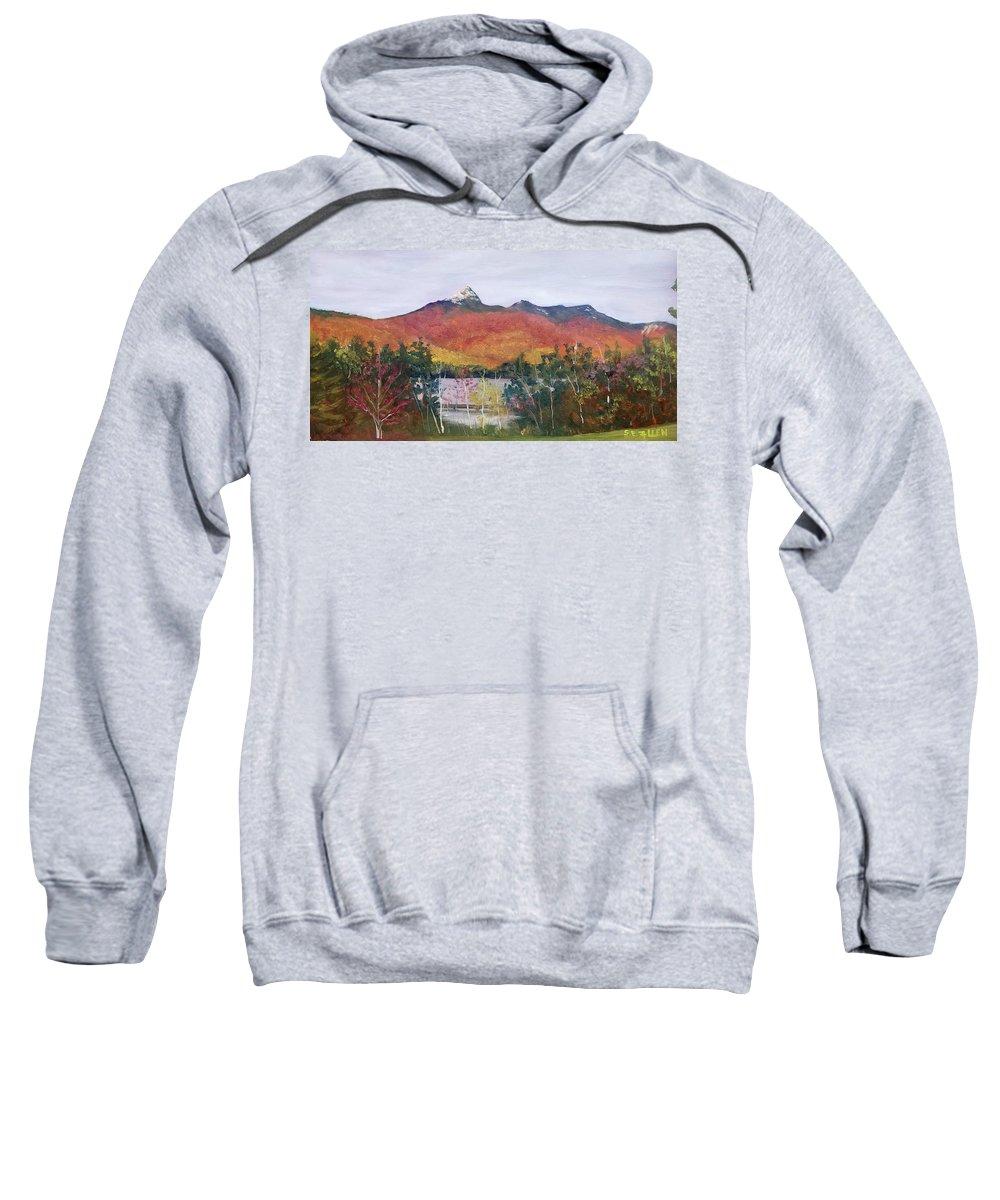 Mt. Chocorua Sweatshirt featuring the painting Spring Burst at Chocorua by Sharon E Allen