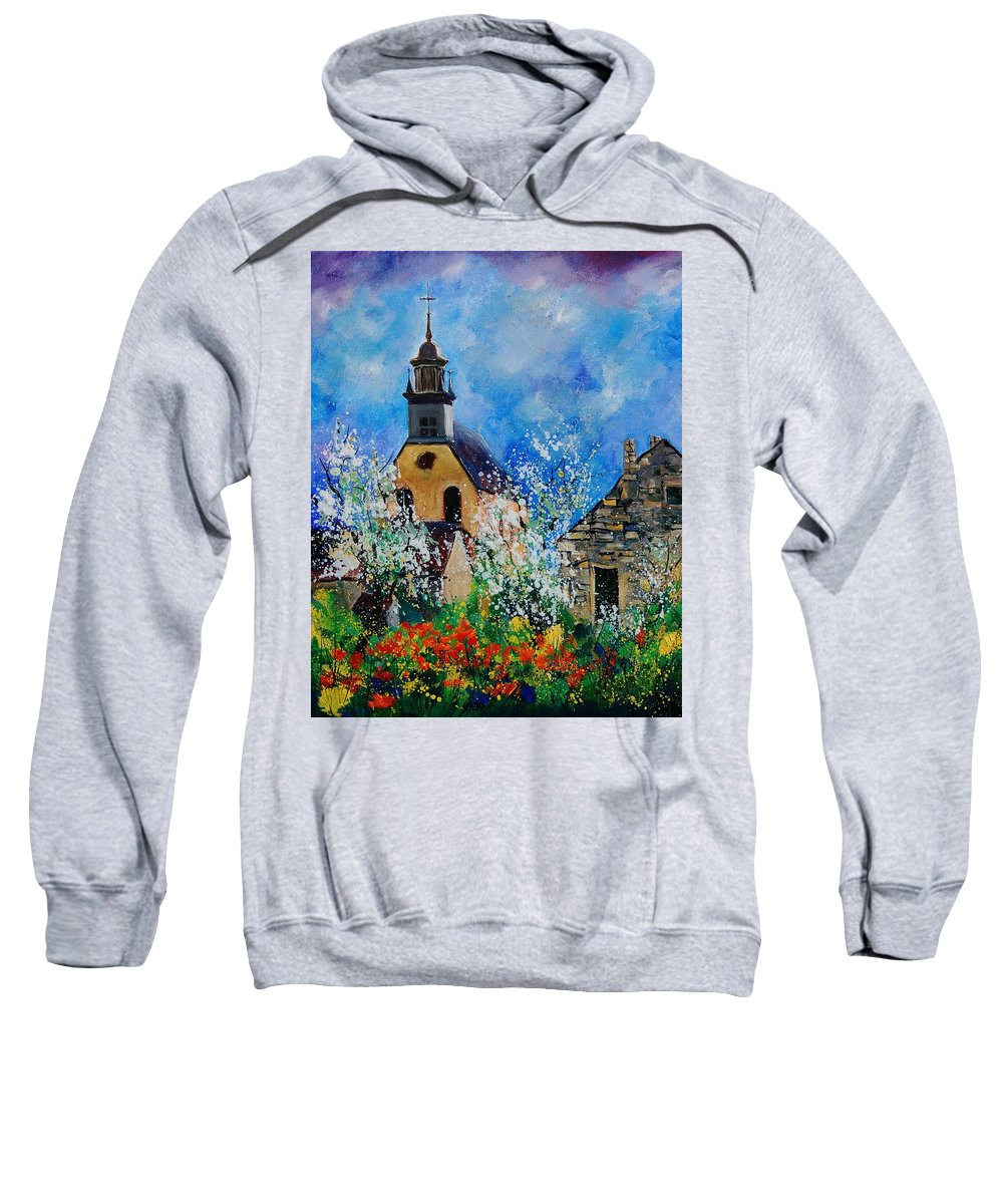Spring Sweatshirt featuring the painting Spring In Foy Notre Dame Dinant by Pol Ledent