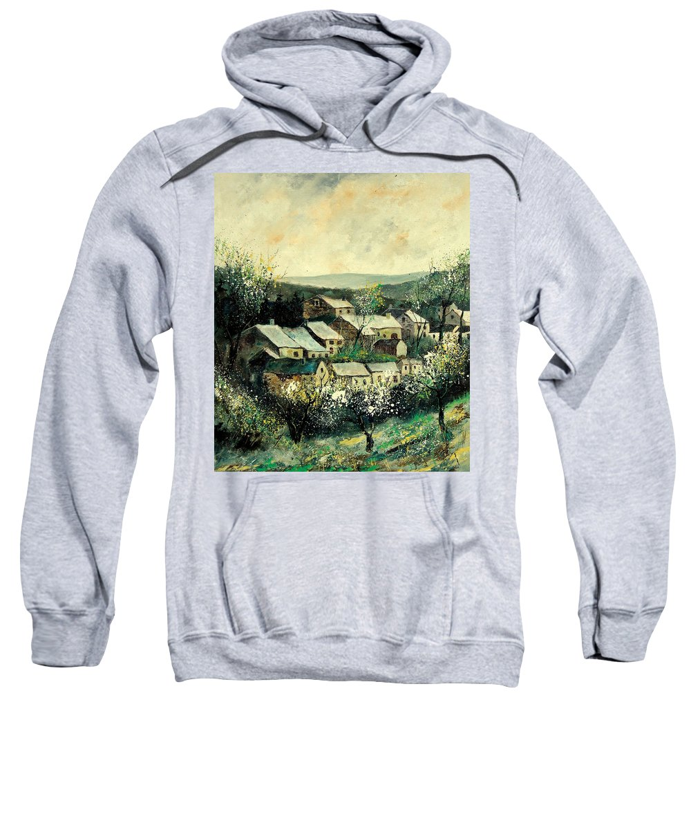 Spring Sweatshirt featuring the painting Spring In The Ardennes Belgium by Pol Ledent
