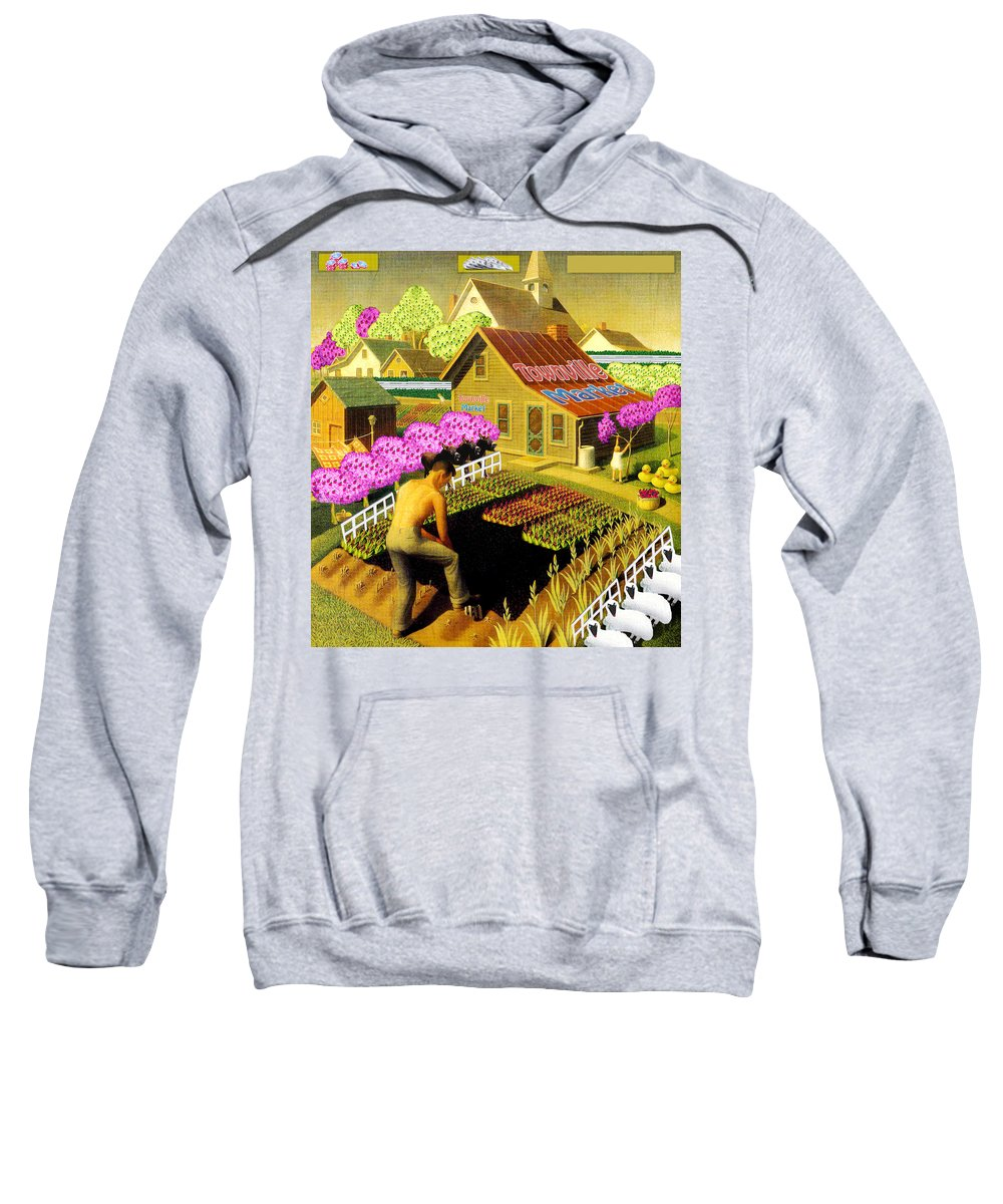 Farming Sweatshirt featuring the painting Spring In Townville by Gravityx9 Designs
