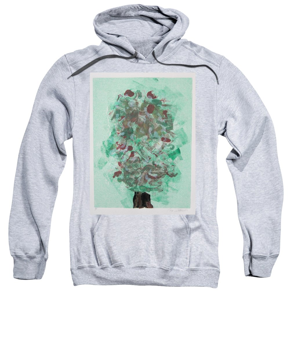 Monoprint Sweatshirt featuring the mixed media Spring Interlude by Cori Solomon