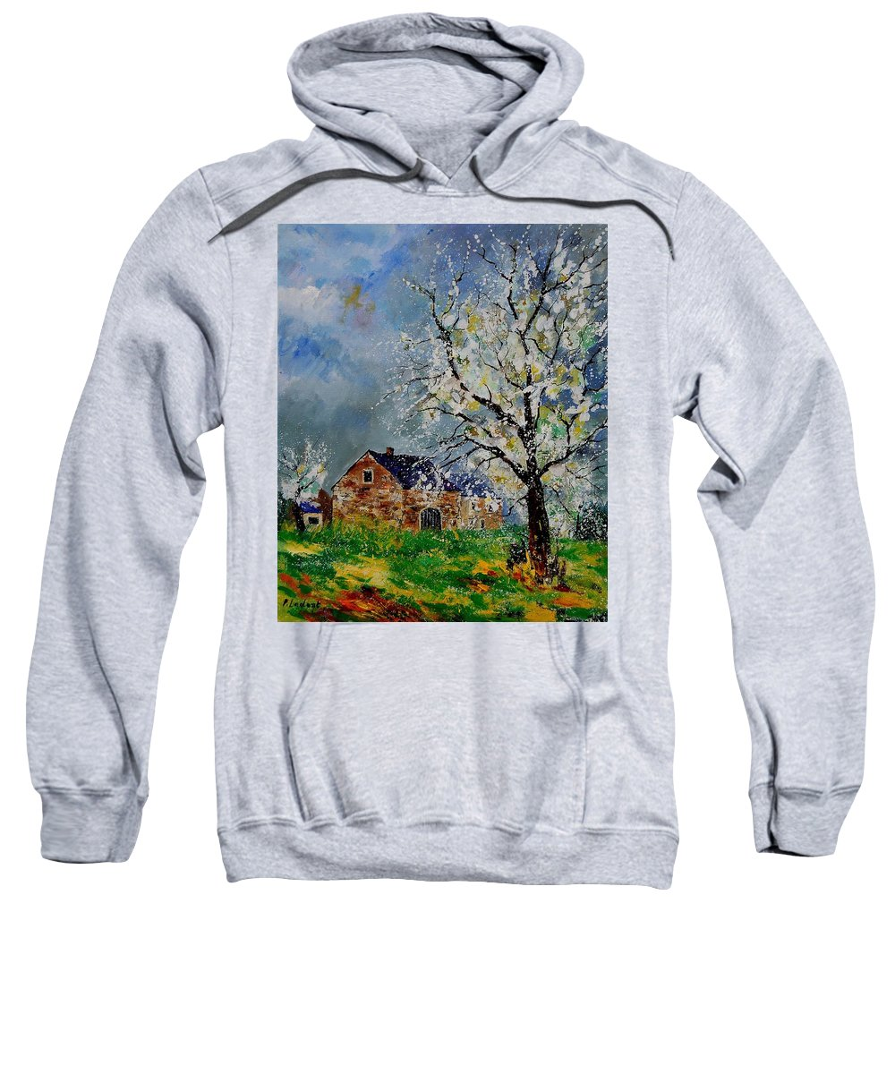 Spring Sweatshirt featuring the painting Spring Landscape by Pol Ledent