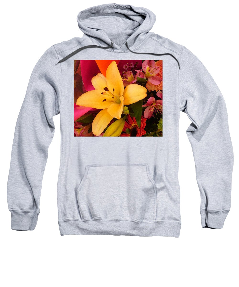 Lily Sweatshirt featuring the painting Spring Lily Bouquet by Amy Vangsgard