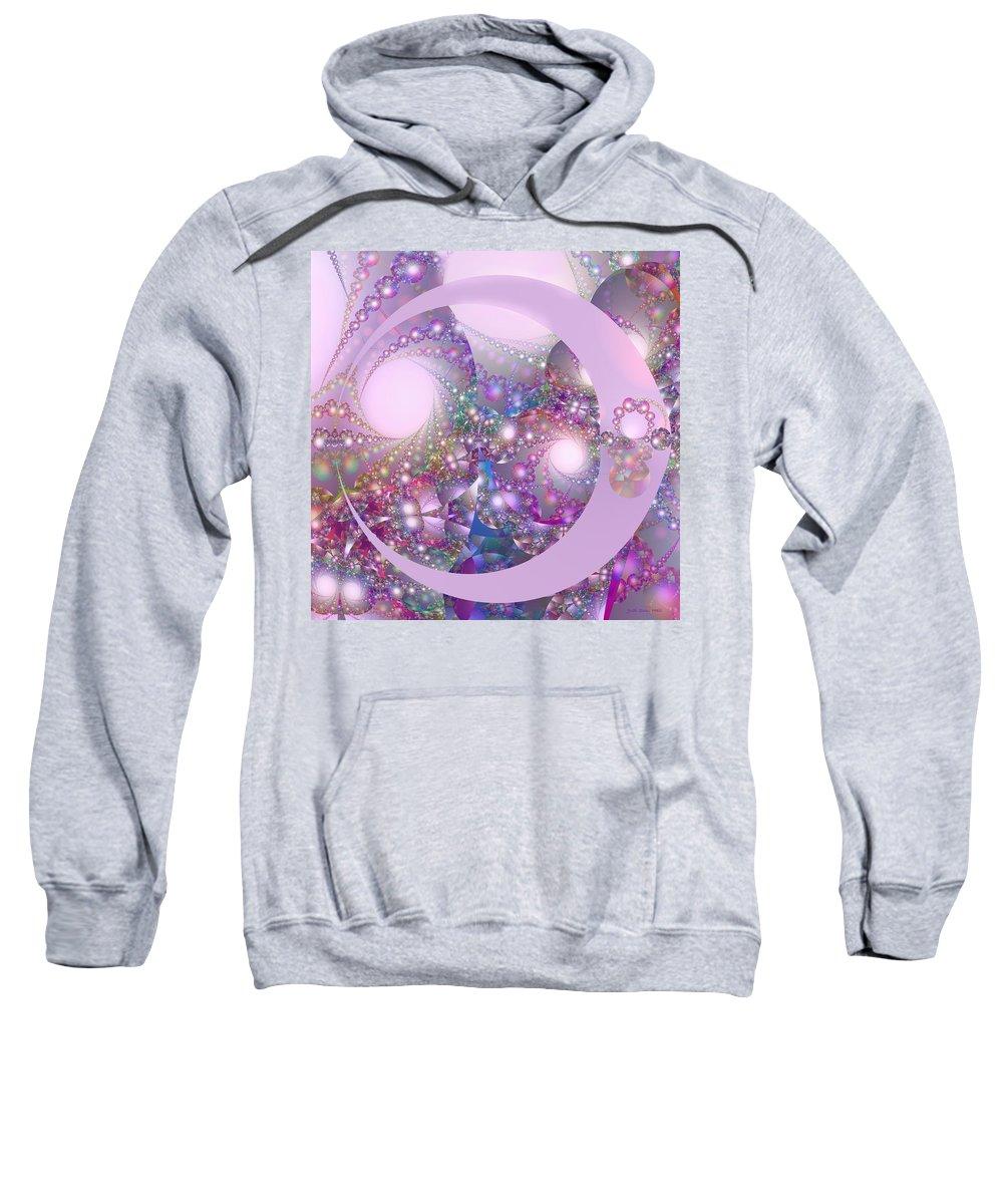 Fractal Sweatshirt featuring the digital art Spring Moon Bubble Fractal by Judi Suni Hall