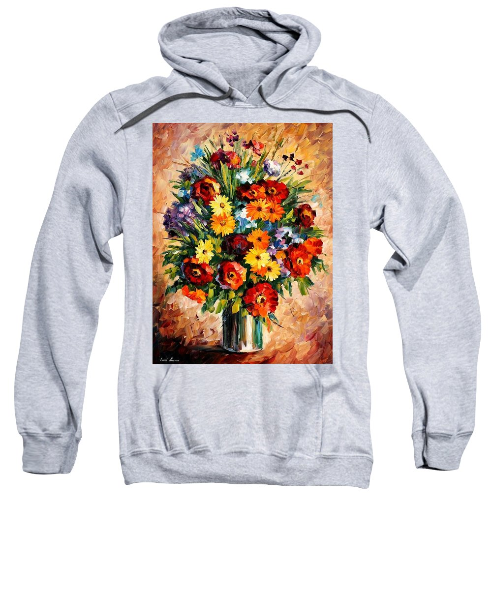 Afremov Sweatshirt featuring the painting Spring Passion by Leonid Afremov