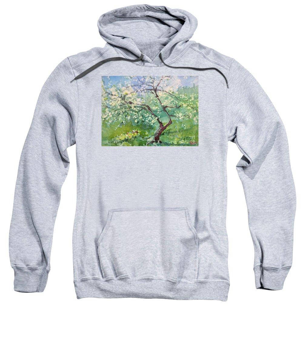 Plum Tree Sweatshirt featuring the painting Spring Plum by Elizabeth Carr