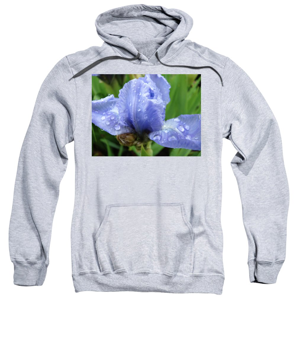 Iris Sweatshirt featuring the photograph Spring Raindrops Blue Iris Flower Water Baslee Troutman by Baslee Troutman