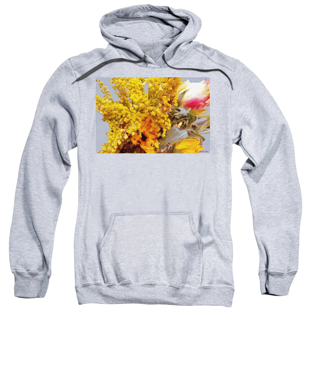 Blue Sweatshirt featuring the painting Spring Sky Bouquet by RC DeWinter