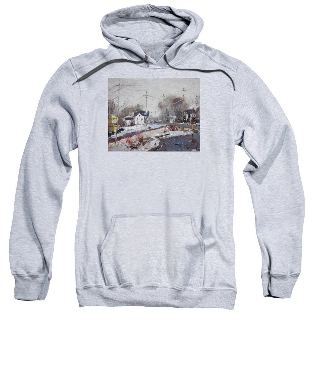 Spring Sweatshirt featuring the painting Spring Snowfall by Ylli Haruni