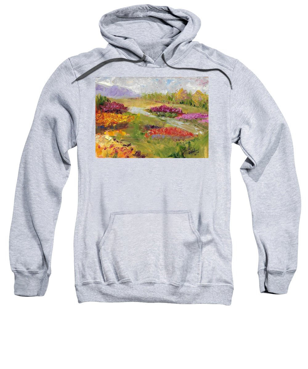 Spring Sweatshirt featuring the painting Spring Tulips by Jennifer DeWeber