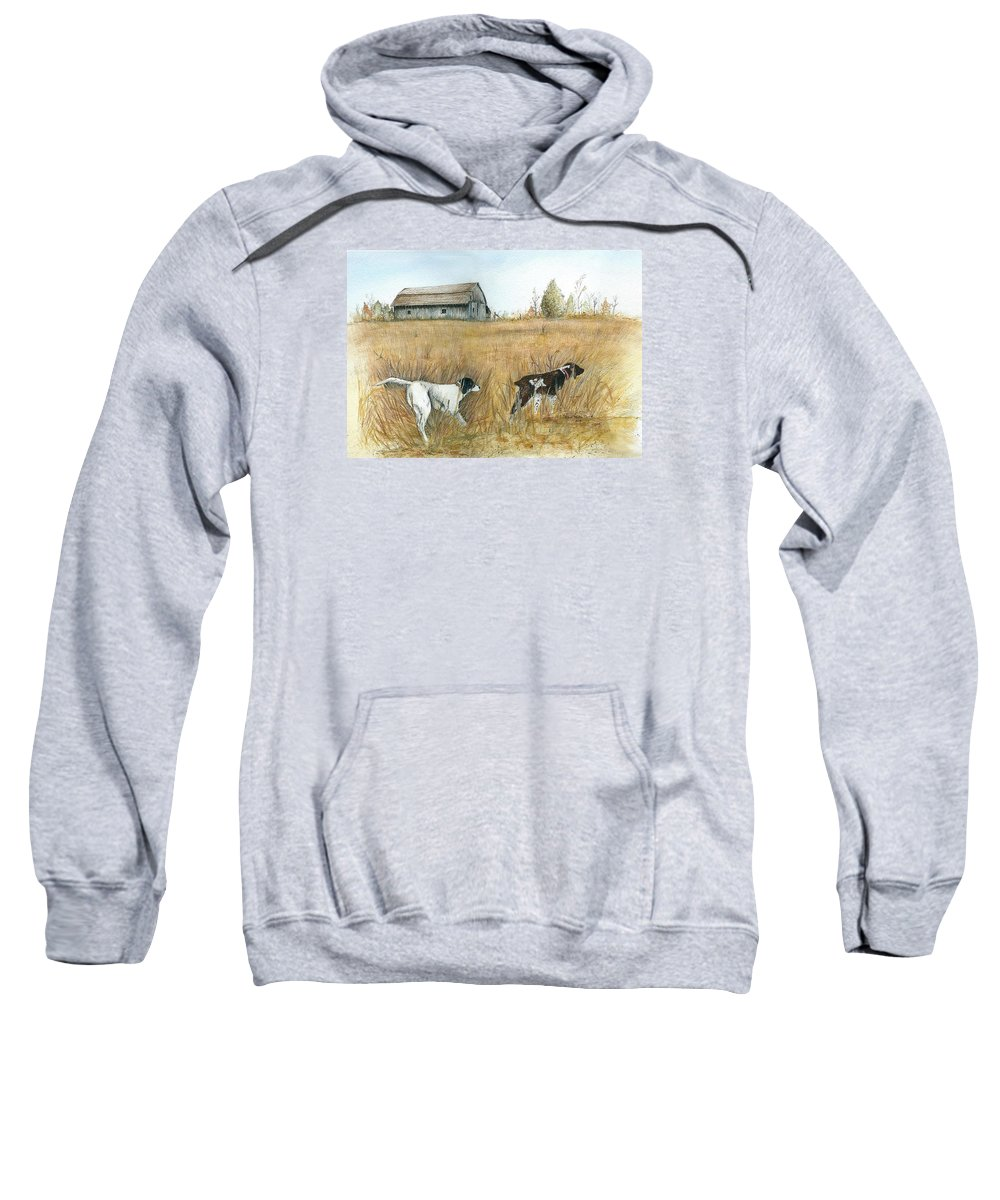 Springfield Sweatshirt featuring the painting Springfield Bird Dogs by Robin Martin Parrish
