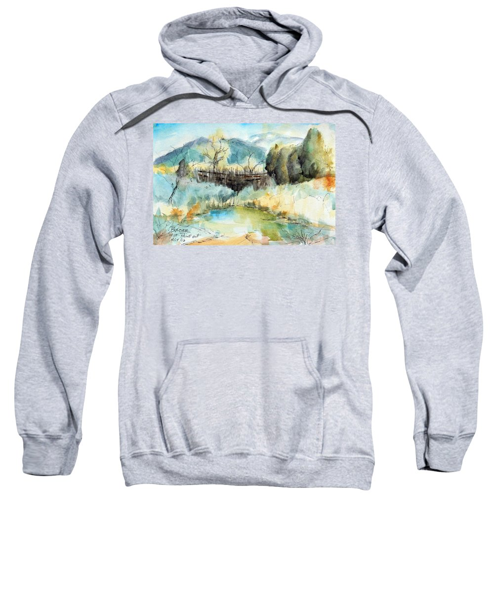 Springtime Sweatshirt featuring the painting springtime at Fred Baca Park in Taos, NM by Diane Binder