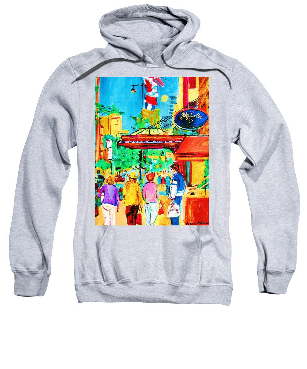 Paintings Of The Ritz Carlton On Sherbrooke Street Montreal Art Sweatshirt featuring the painting Springtime Stroll by Carole Spandau