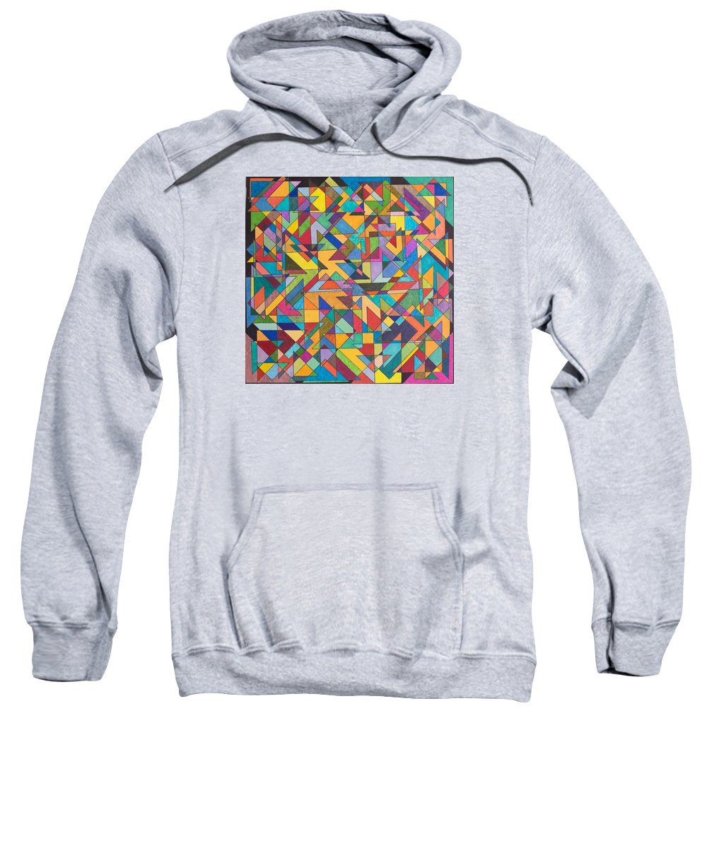 Synesthetic Painting Made Based On Studies Of Geometric Planar Dimensions Of Lepton Fields Sweatshirt featuring the painting Squark And Lepton Fields by George Sanen