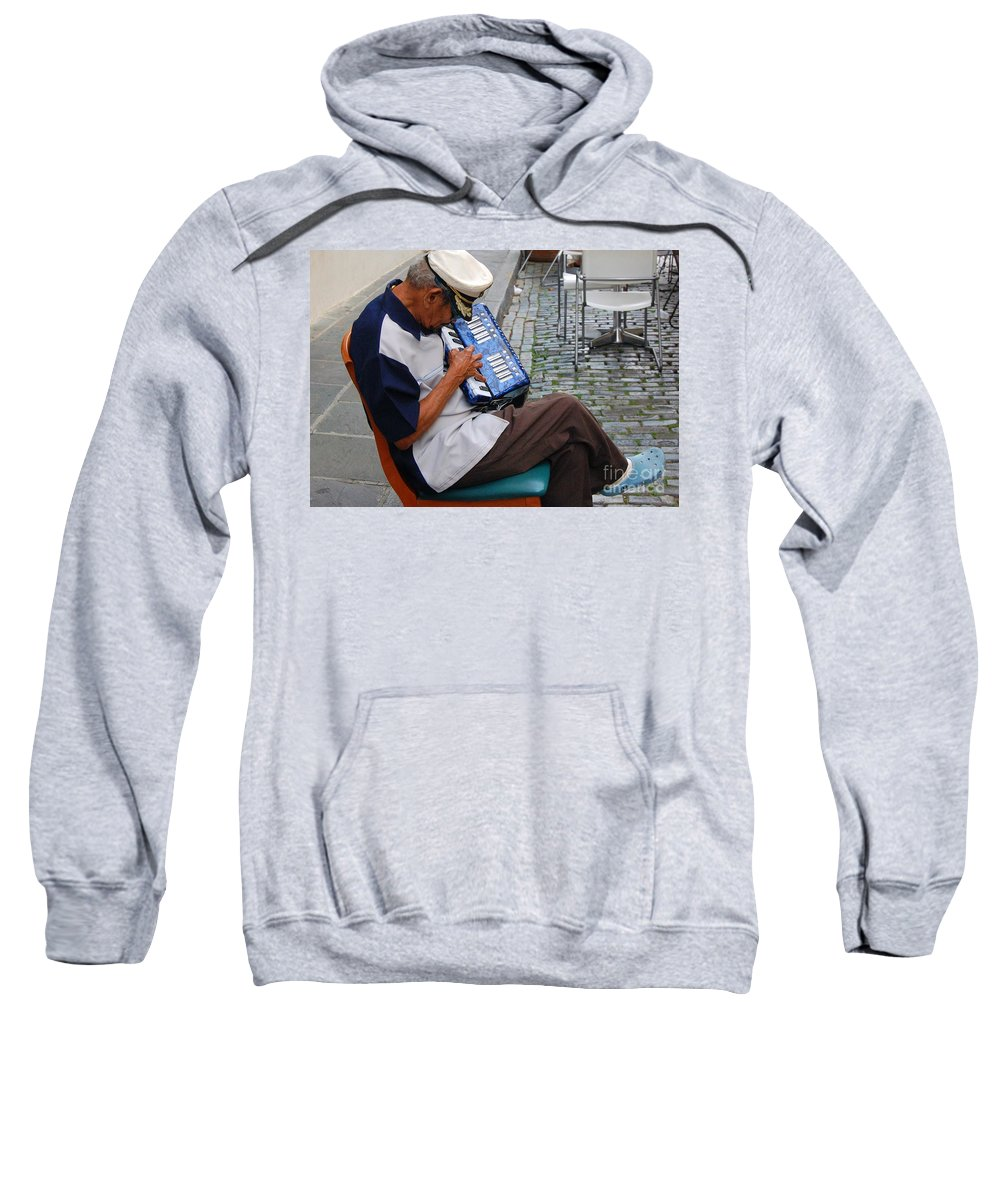 People Sweatshirt featuring the photograph Squeeze Box by Debbi Granruth