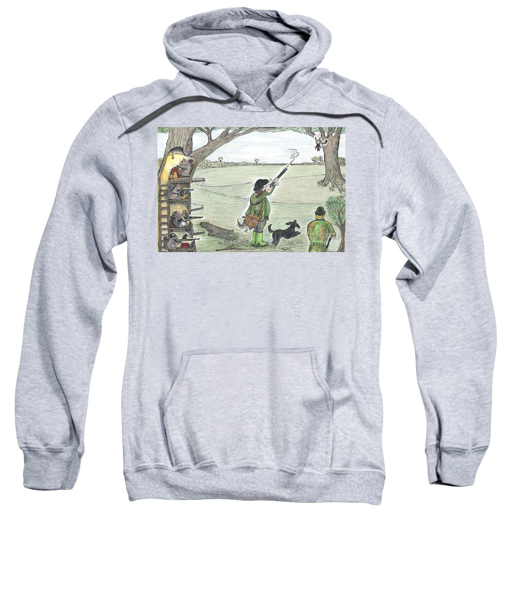 Squirrel Sweatshirt featuring the painting Squirrel Gun Club by Steve Royce Griffin