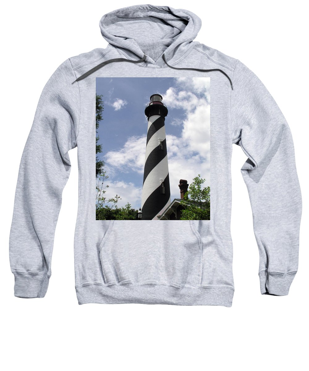 Lighthouse; Light; House; Keeper; St. Augustine; Florida; Coast; Shine; Fog; Storms; U.s.; Coast; Gu Sweatshirt featuring the photograph St Augustine Florida Light by Allan Hughes