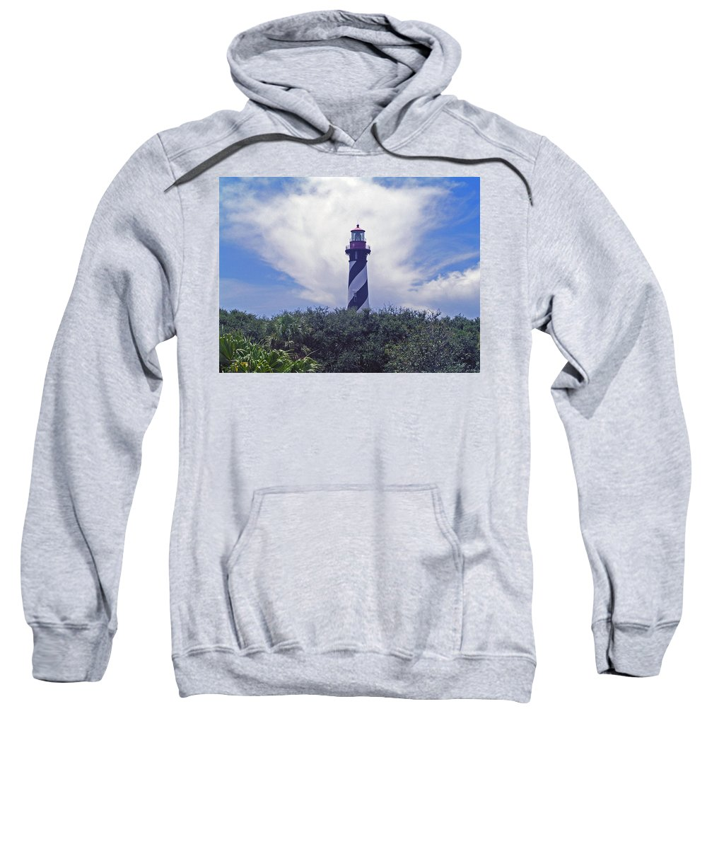 Lighthouse; Light; House; Keeper; St. Augustine; Florida; Coast; Shine; Fog; Storms; U.s.; Coast Gua Sweatshirt featuring the photograph St Augustine Light On The Atlantic Coast Of Florida by Allan Hughes