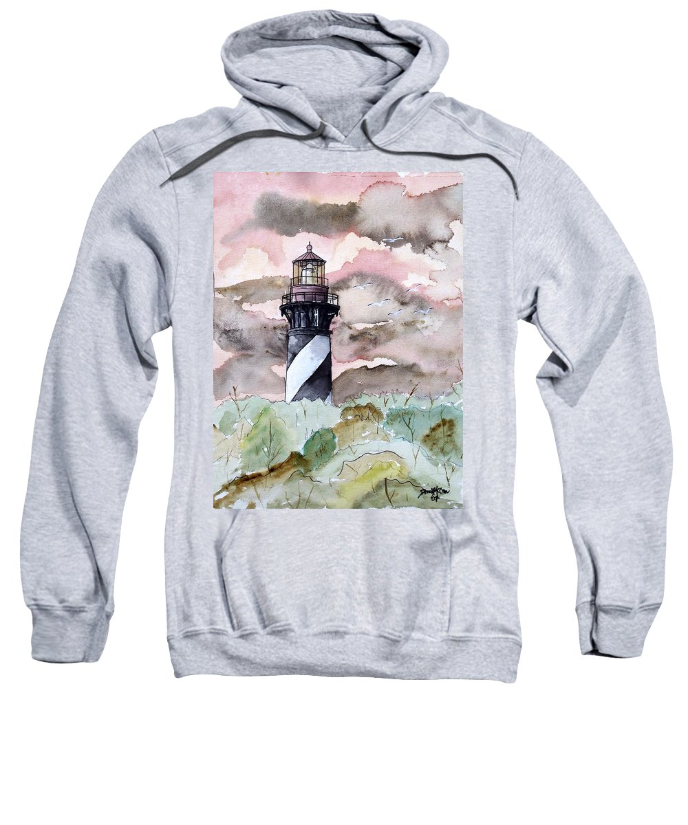 Lighthouse Sweatshirt featuring the painting St Augustine Lighthouse by Derek Mccrea