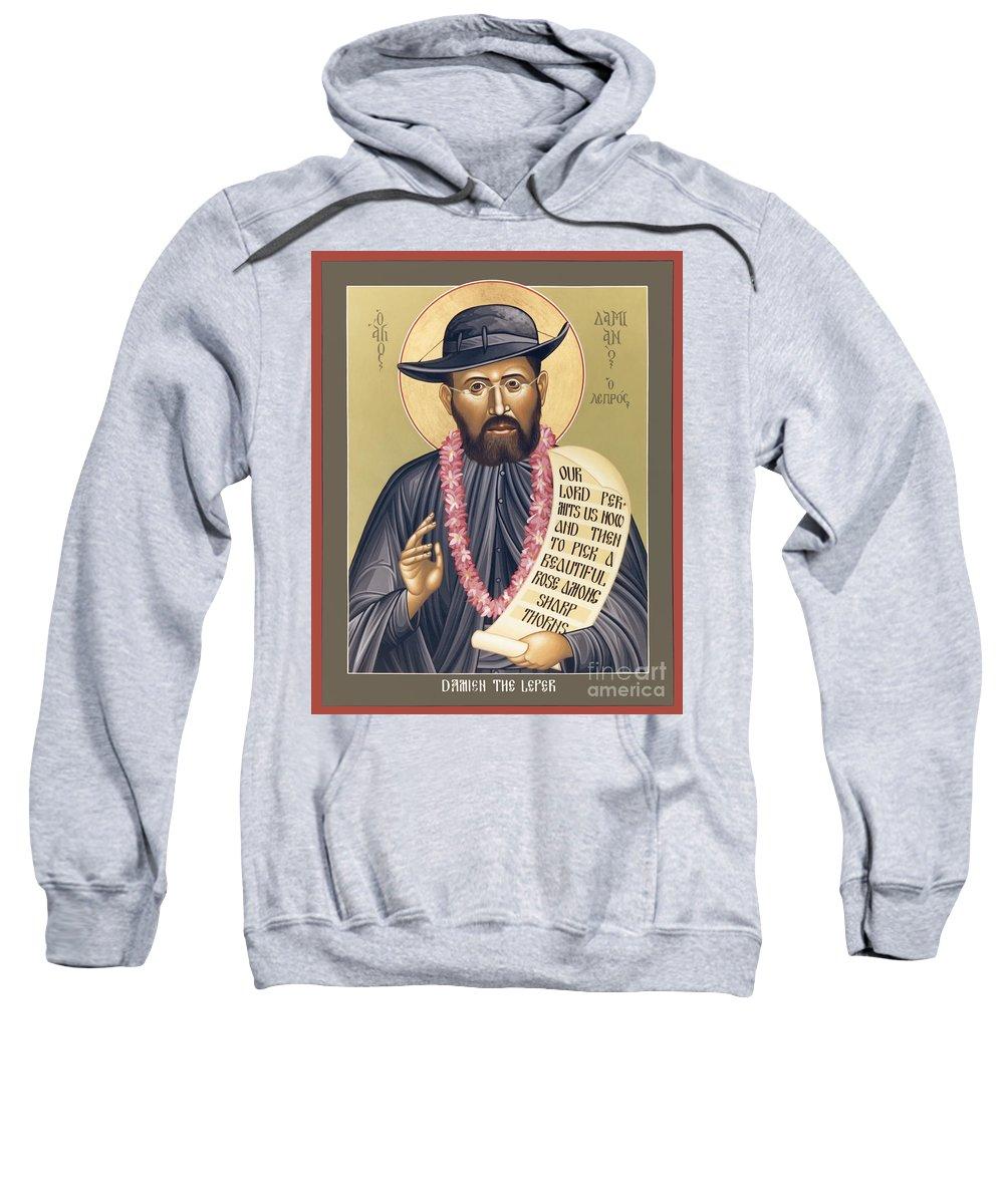 St. Damien The Leper Sweatshirt featuring the painting St. Damien The Leper - Rldtl by Br Robert Lentz OFM