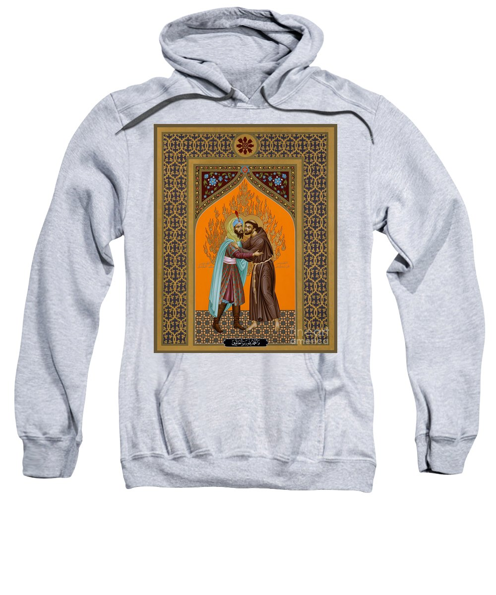 St. Francis And The Sultan Sweatshirt featuring the painting St. Francis And The Sultan - Rlsul by Br Robert Lentz OFM