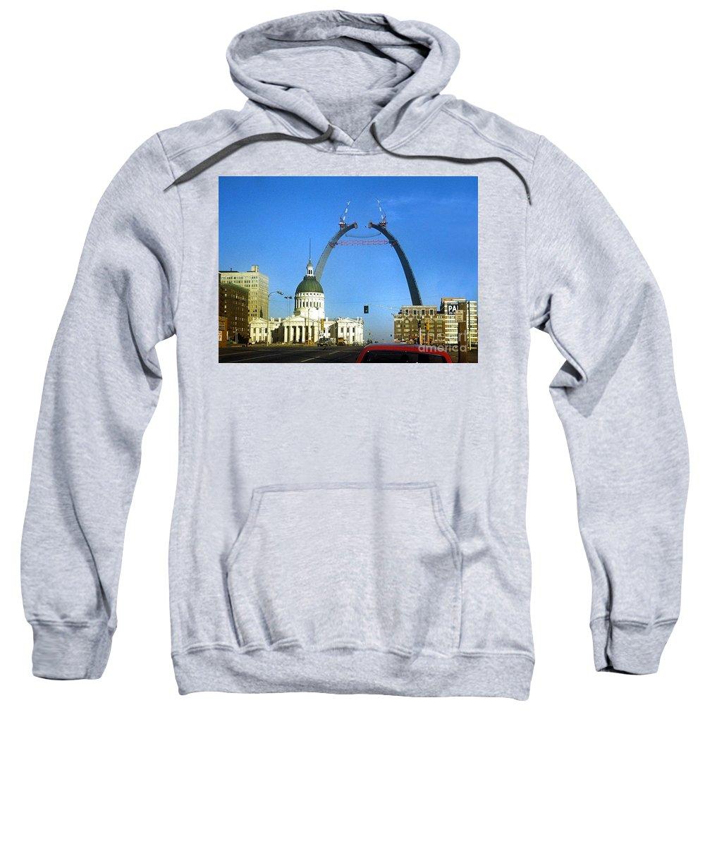 St. Louis Sweatshirt featuring the photograph St. Louis Arch Construction by Dwayne Pounds