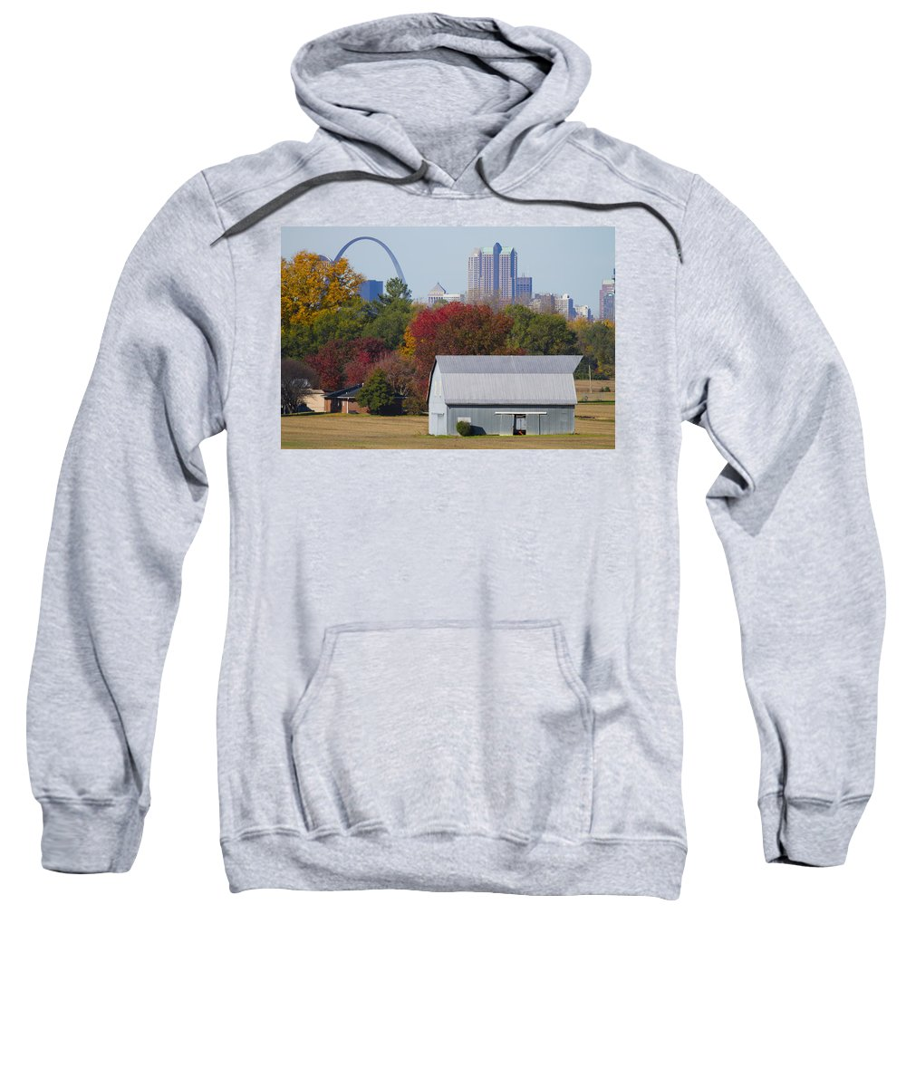 Arch Sweatshirt featuring the painting St Louis Skyline From Illinois by Garry McMichael