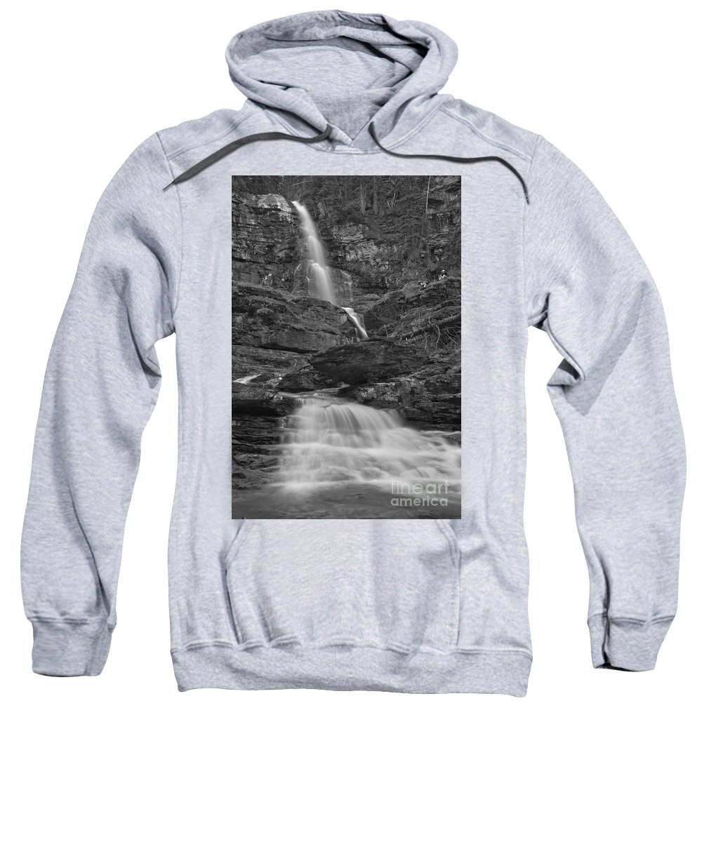 Black And White Sweatshirt featuring the photograph St Mary Triple Cascades - Black And White by Adam Jewell