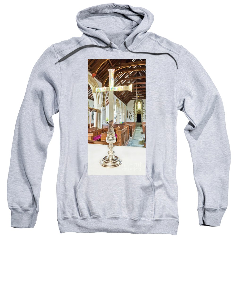 Sy Mylor Sweatshirt featuring the photograph St Mylor Cross Reflections by Terri Waters