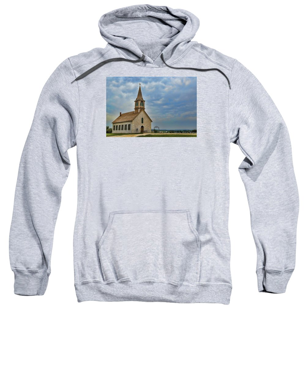 Texas Sweatshirt featuring the photograph St Olafs Church by Stephen Stookey