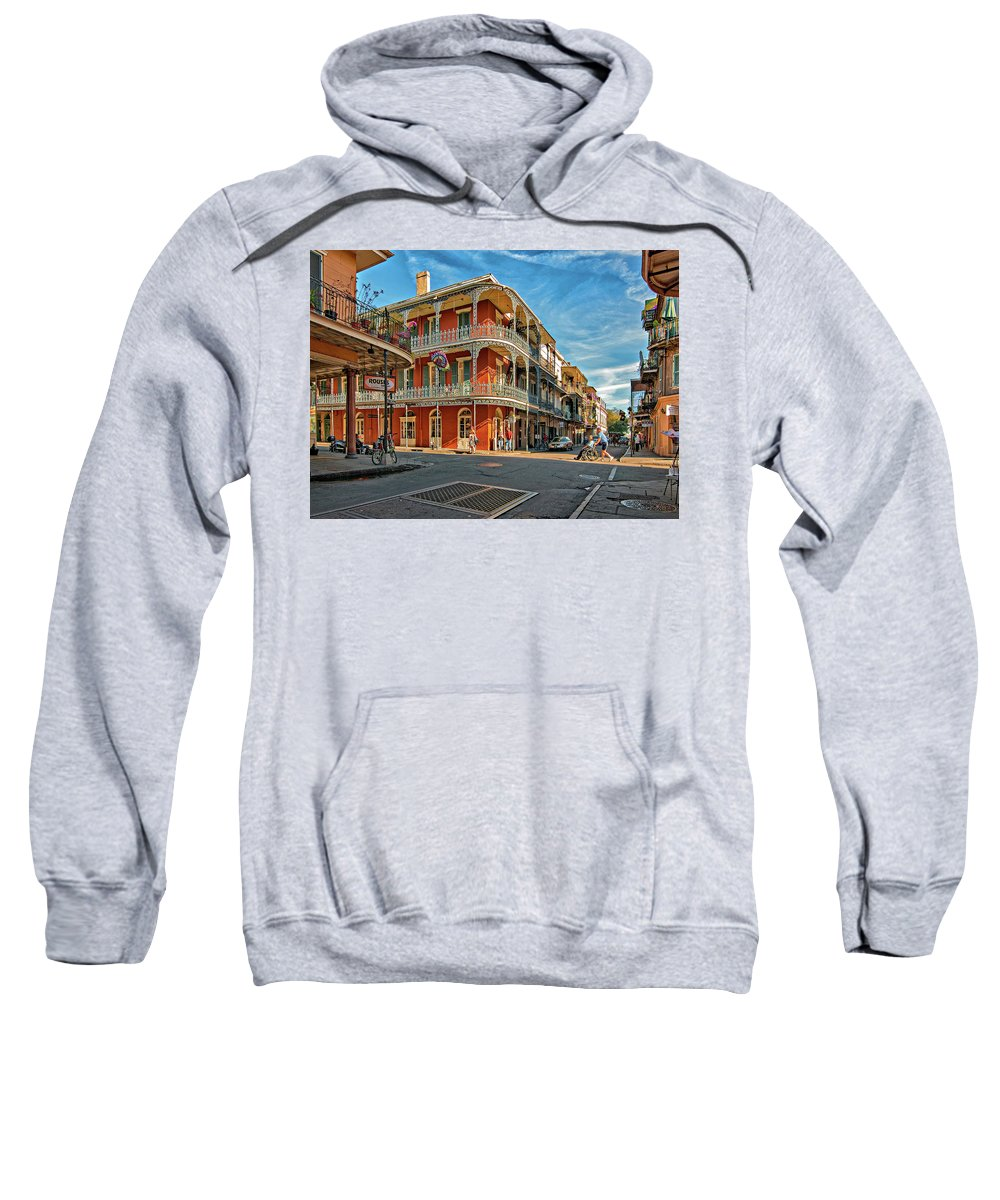 French Quarter Sweatshirt featuring the photograph St Peter St New Orleans by Steve Harrington