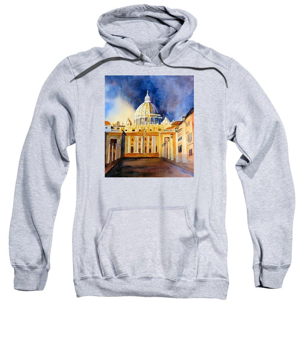 Vatican Sweatshirt featuring the painting St. Peters Basilica by Karen Stark