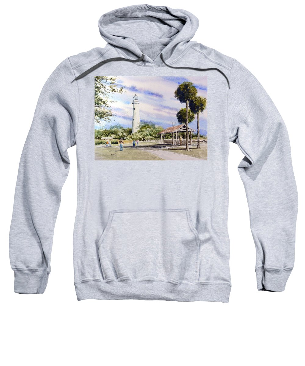 Lighthouse Sweatshirt featuring the painting St. Simons Island Lighthouse by Sam Sidders