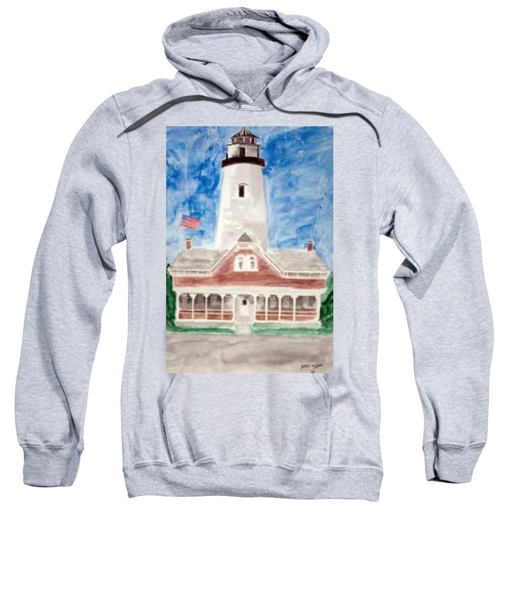 Watercolor Landscape Lighthouse Seascape Painting Sweatshirt featuring the painting St Simons Lighthouse Nautical Painting Print by Derek Mccrea