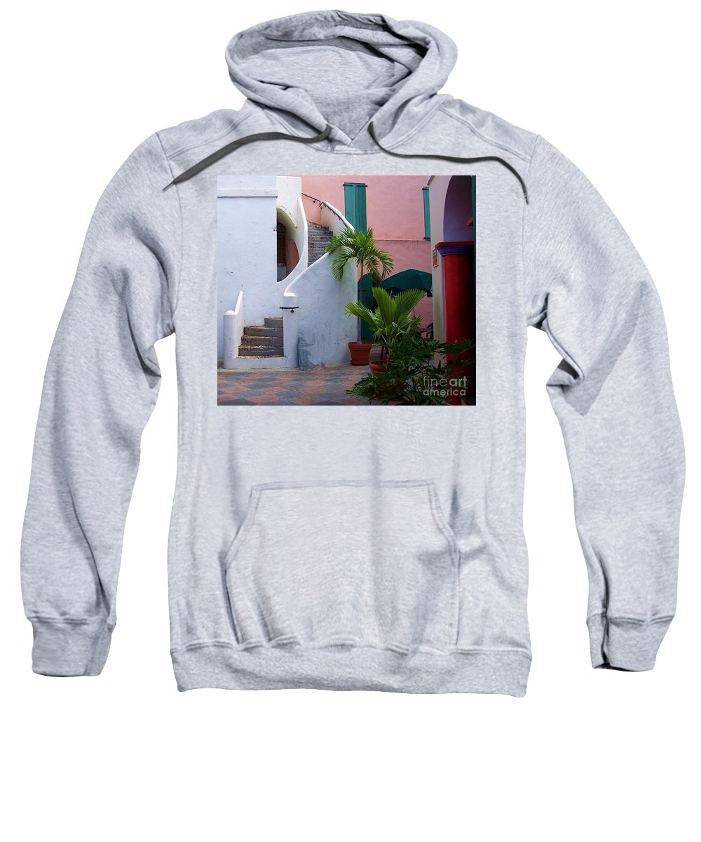 Architecture Sweatshirt featuring the photograph St. Thomas Courtyard by Debbi Granruth