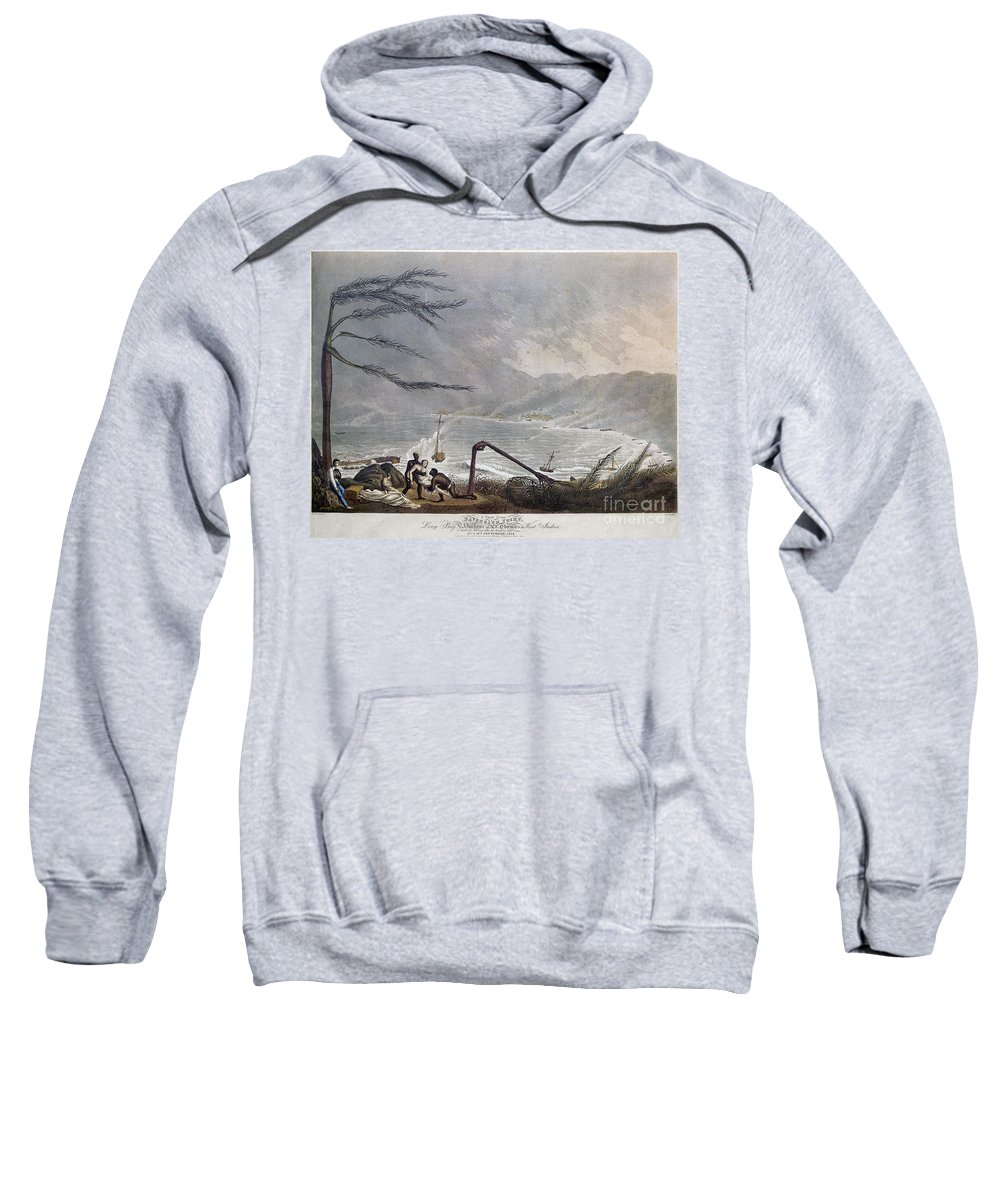 1819 Sweatshirt featuring the photograph St. Thomas: Hurricane, 1819 by Granger