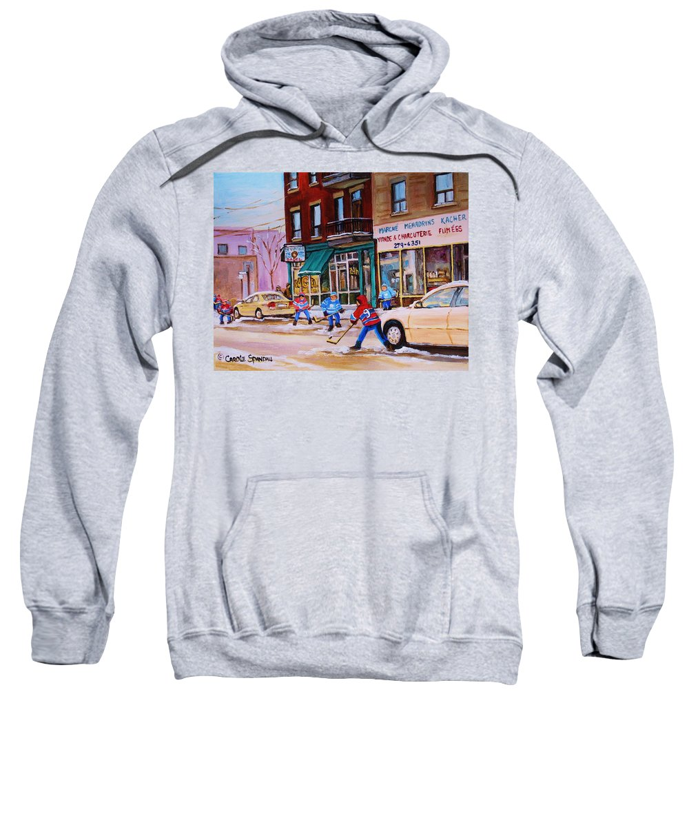 Montreal Sweatshirt featuring the painting St. Viateur Bagel With Boys Playing Hockey by Carole Spandau