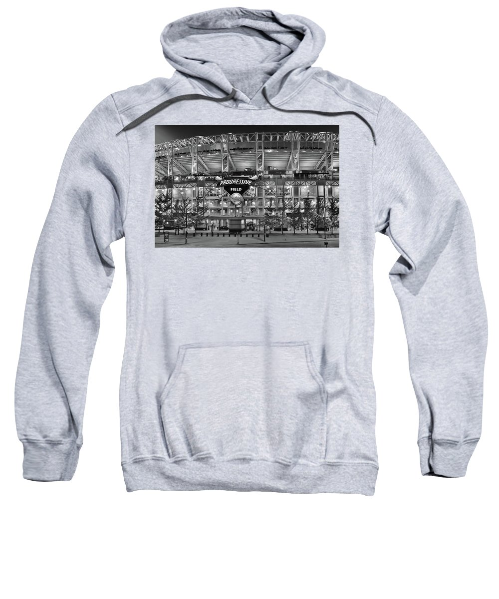Cleveland Sweatshirt featuring the photograph Stadium Black And White by Frozen in Time Fine Art Photography