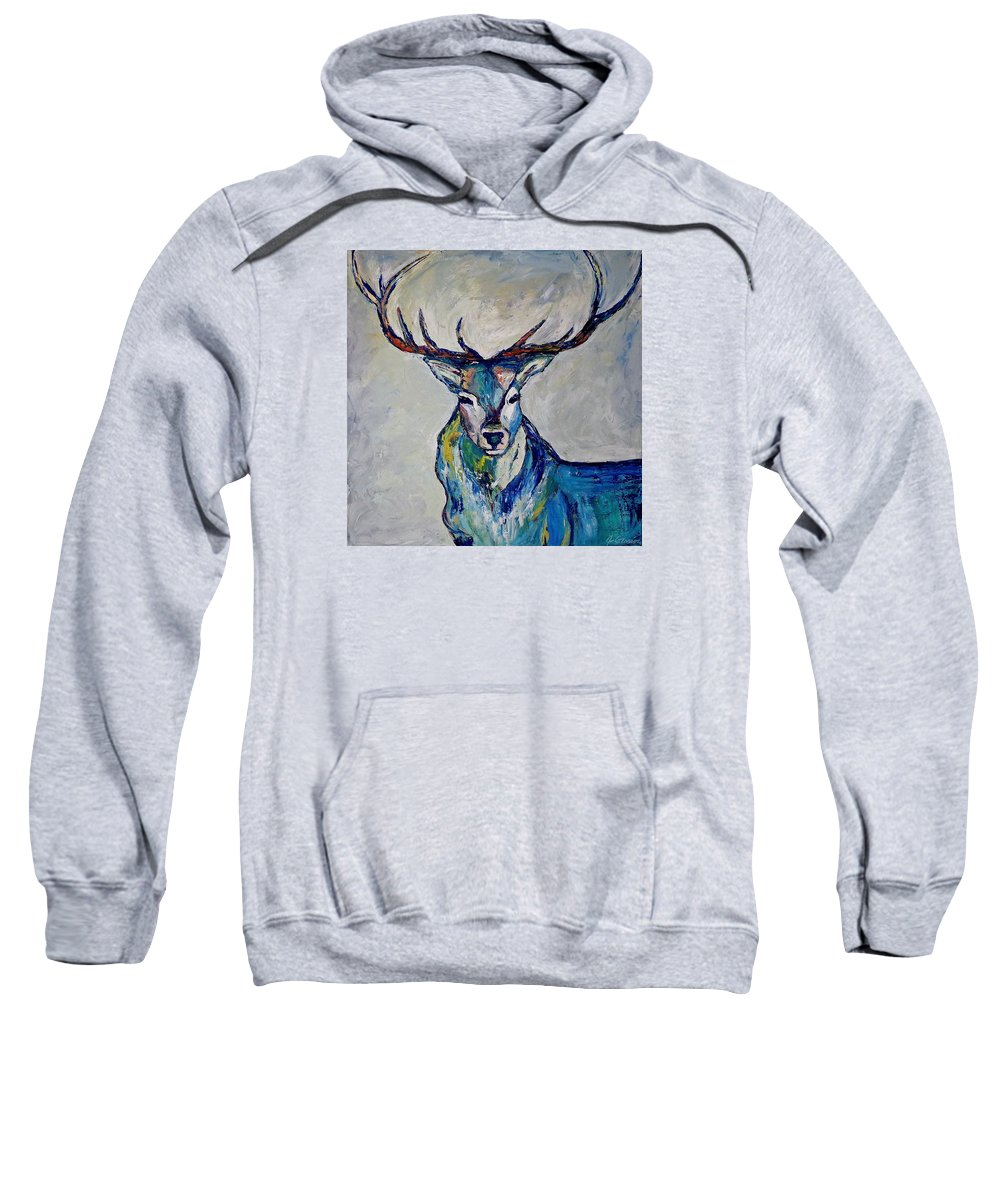 Impressionism Sweatshirt featuring the painting Stag by Jo Gerrior