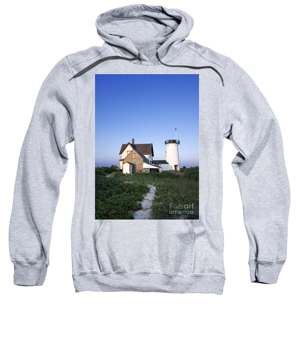 New England Sweatshirt featuring the photograph Stage Harbor Lighthouse by John Greim