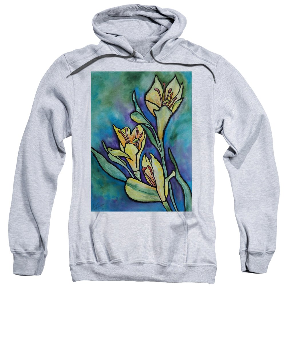 Flowers Sweatshirt featuring the painting Stained Glass Flowers by Ruth Kamenev