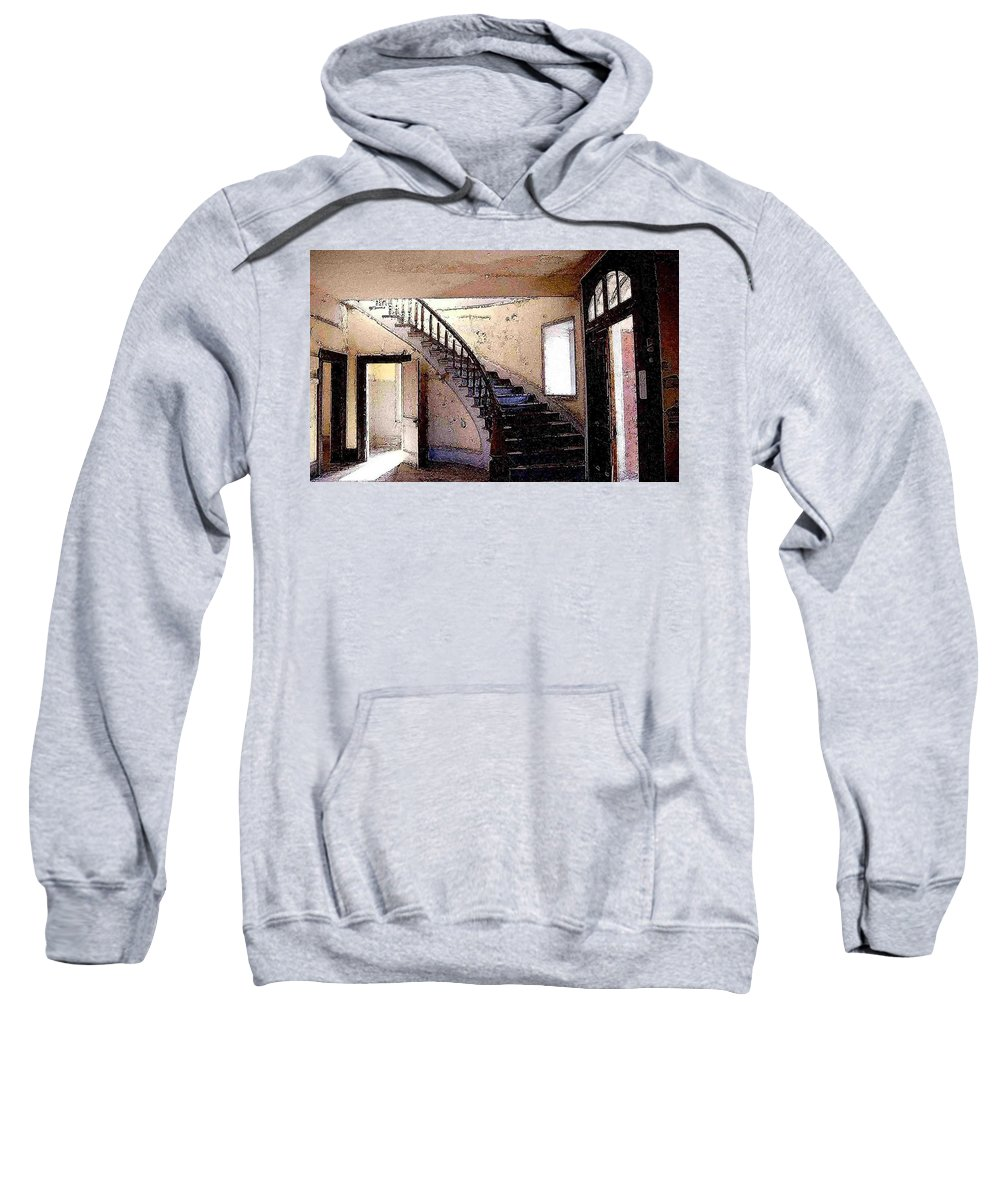 Meade Hotel Sweatshirt featuring the photograph Stairway - Meade Hotel - Bannack Mt by Nelson Strong